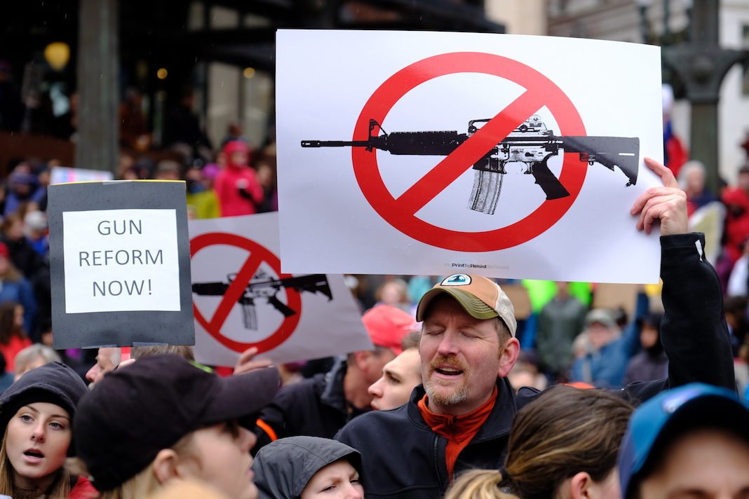 Protesters demonstrate against gun violence as thousands take part in a nationwide day of action
