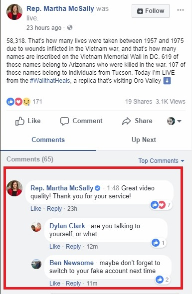 Martha McSally Facebook comments 03-19-2018