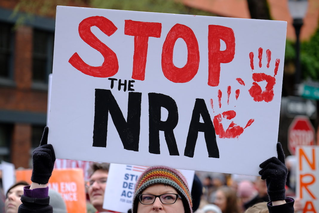 Protesters demonstrate against gun violence as thousands take part in a nationwide day of action on March 24, 2018