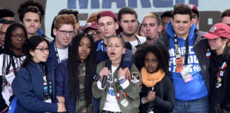 Emma Gonzalez, a student and survivor of the Parkland speaks at the first-ever March for Our Lives to demand stricter gun control laws