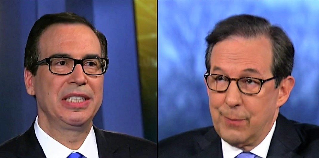 Treasury Secretary Steve Mnuchin and Fox News anchor Chris Wallace