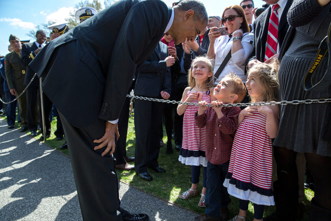 President Barack Obama visits with children following the Wounded Warrior Project's Soldier Ride on the South Lawn of the White House, April 17, 2014. (Official White House Photo by Pete Souza) This official White House photograph is being made available only for publication by news organizations and/or for personal use printing by the subject(s) of the photograph. The photograph may not be manipulated in any way and may not be used in commercial or political materials, advertisements, emails, products, promotions that in any way suggests approval or endorsement of the President, the First Family, or the White House.