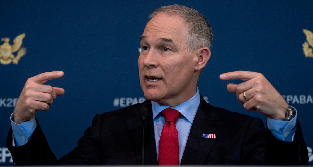 FILE - In this April 3, 2018 file photo Environmental Protection Agency Administrator Scott Pruitt speaks at a news conference at the Environmental Protection Agency in Washington. Pruitt indicated this week he may target a longstanding federal waiver that allows California to set its own, tougher tailpipe emission standards, an exception that's allowed the state to prod the rest of nation to do more against air pollution and climate change for a half-century.