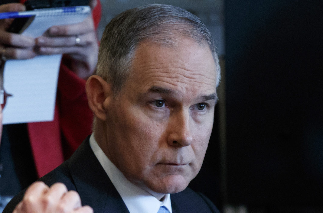 Environmental Protection Agency administrator Scott Pruitt listens as President Donald Trump speaks during a cabinet meeting at the White House, Monday, April 9, 2018, in Washington.