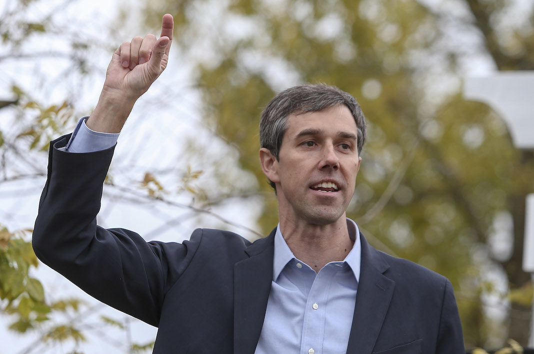Rep. Beto O'Rourke, D-Texas addresses the crowd during a town hall meeting at the Columbus RV Park and Campground in Columbus, TX.