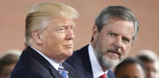 Donald Trump with Liberty University President Jerry Falwell Jr.