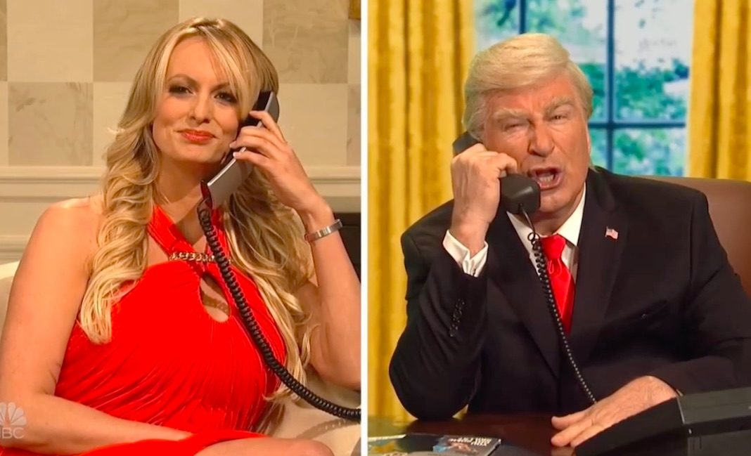 Stormy Daniels with Alec Baldwin as Donald Trump, on