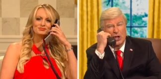 "Stormy Daniels with Alec Baldwin as Donald Trump, on ""Saturday Night Live"""