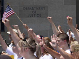 Immigration protesters outside Department of Justice
