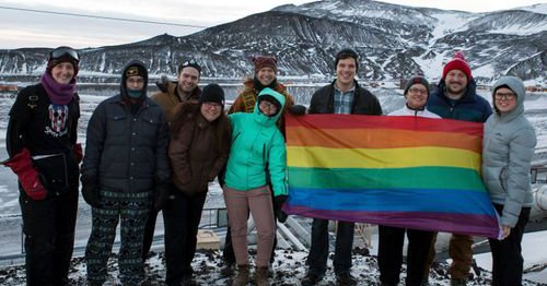 Employees at McMurdo Station in Antarctica mark the continent's first-ever Pride celebrations. (Photo by Mike Miksche)