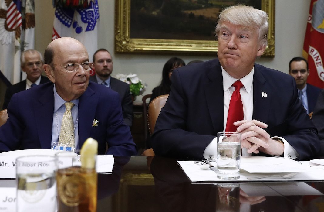 Donald Trump with Commerce Secretary Wilbur Ross