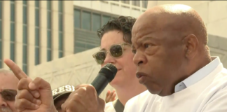 Rep. John Lewis gives speech at Keep Families Together rally.