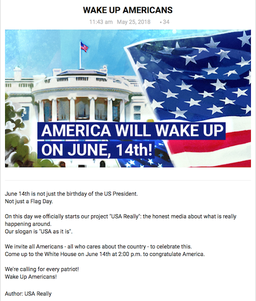 Russian website Trump birthday invitation 6-2-18