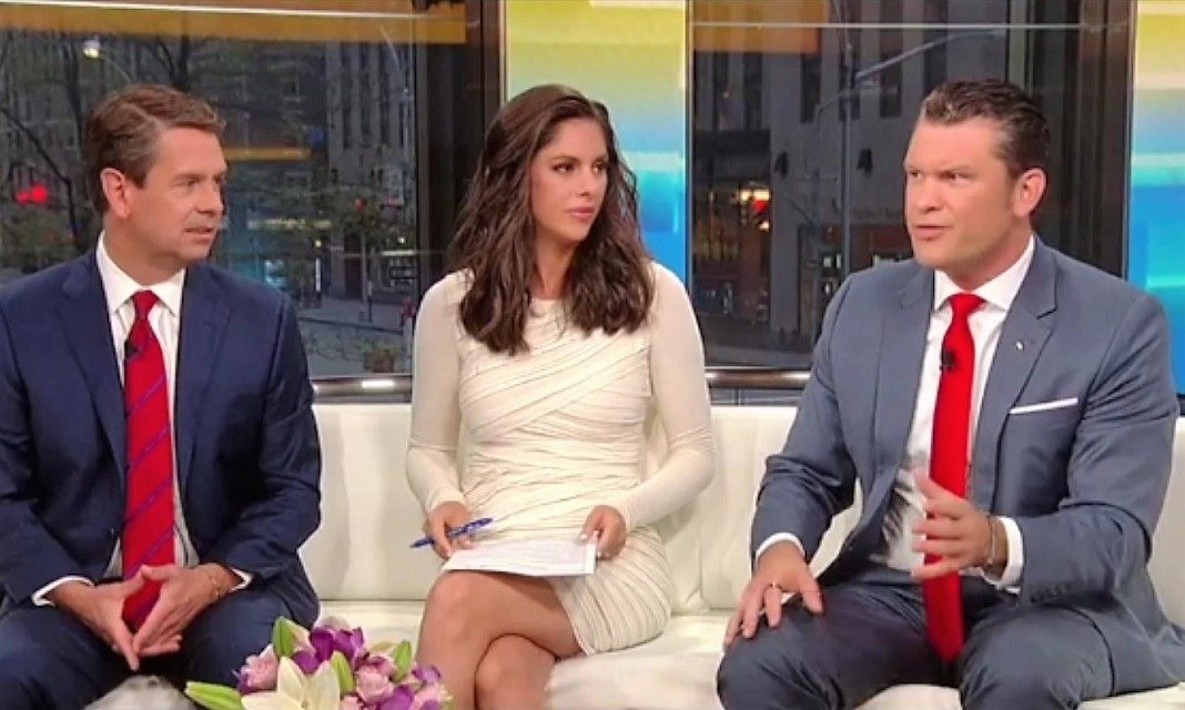 Fox and Friends hosts Griff Jenkins, Abby Huntsman, and Pete Hegseth