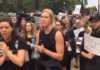 Women protesters support Christine Blasey Ford.