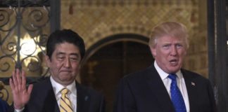 Trump with Japan Prime Minister Shinzo Abe Mar-a-Lago 10-10-18