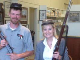 Cindy Hyde-Smith posing in Confederate gear