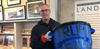 Rep. Jared Huffman stands with Trump trash