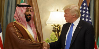 Trump shakes hands with Mohammed bin Salman