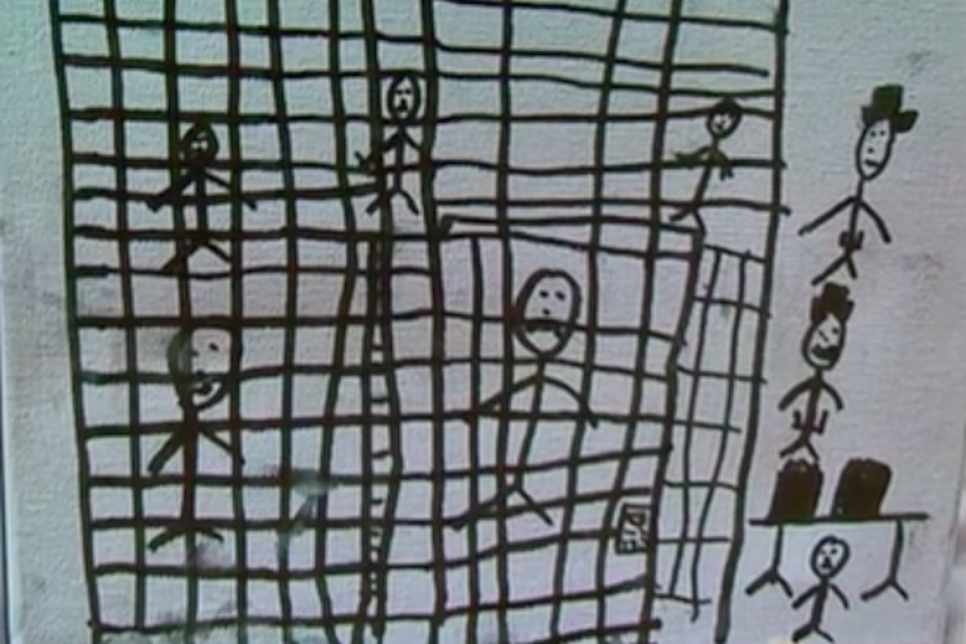 Child's drawing of kids in cages