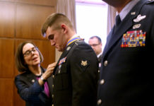 Oregon Gov. Kate Brown with National Guard