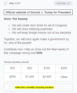 Trump raising money off of his now-abandoned term limits promise.