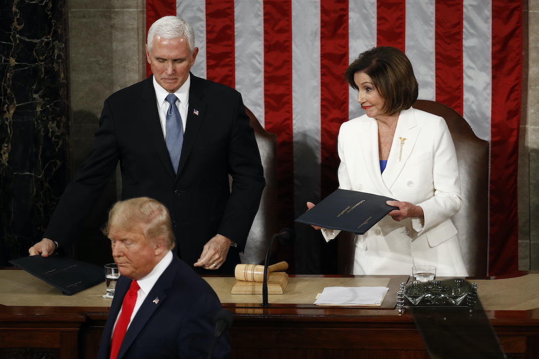 Donald Trump, Mike Pence and Speaker Nancy Pelosi at the State of the Union address