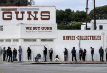 Line in front of Gun Shop