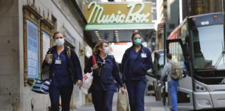 Health workers masks New York