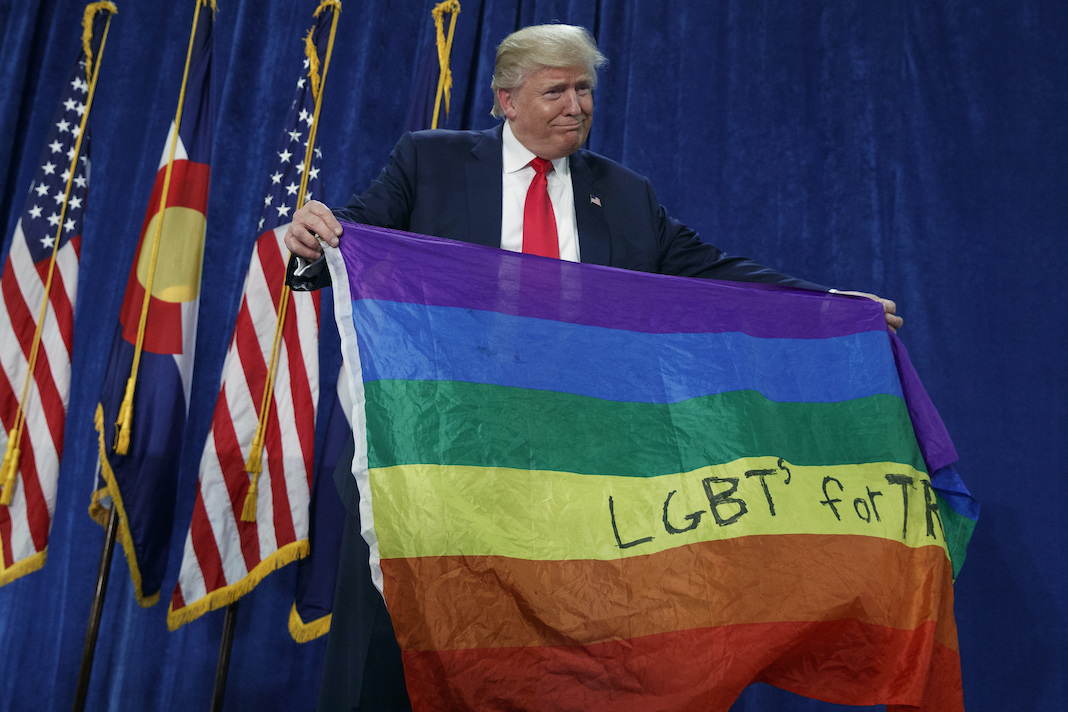 Donald Trump holds a rainbow flag.