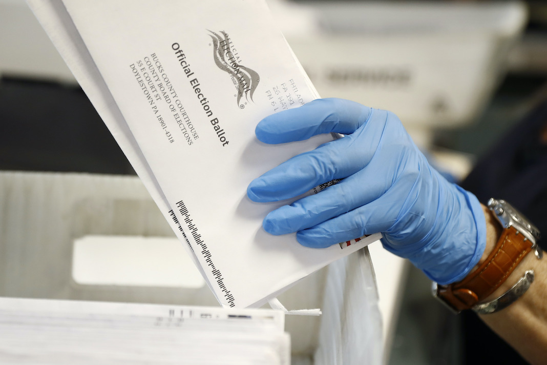 Mail-in ballots being sorted