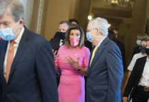 Nancy Pelosi and Mitch McConnell in masks