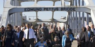 Barack Obama, John Lewis et al. on Edmund Pettus Bridge, 2015