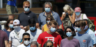 People wearing masks during the pandemic.