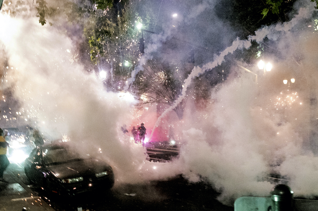 Protests and smoke in Portland