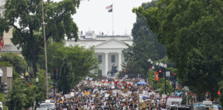 Protesters near the White House