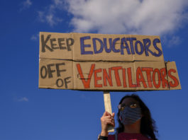 Protest against school reopenings in Indiana.