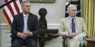 Senate Majority Leader Mitch McConnell, right, and House Minority Leader Kevin McCarthy.