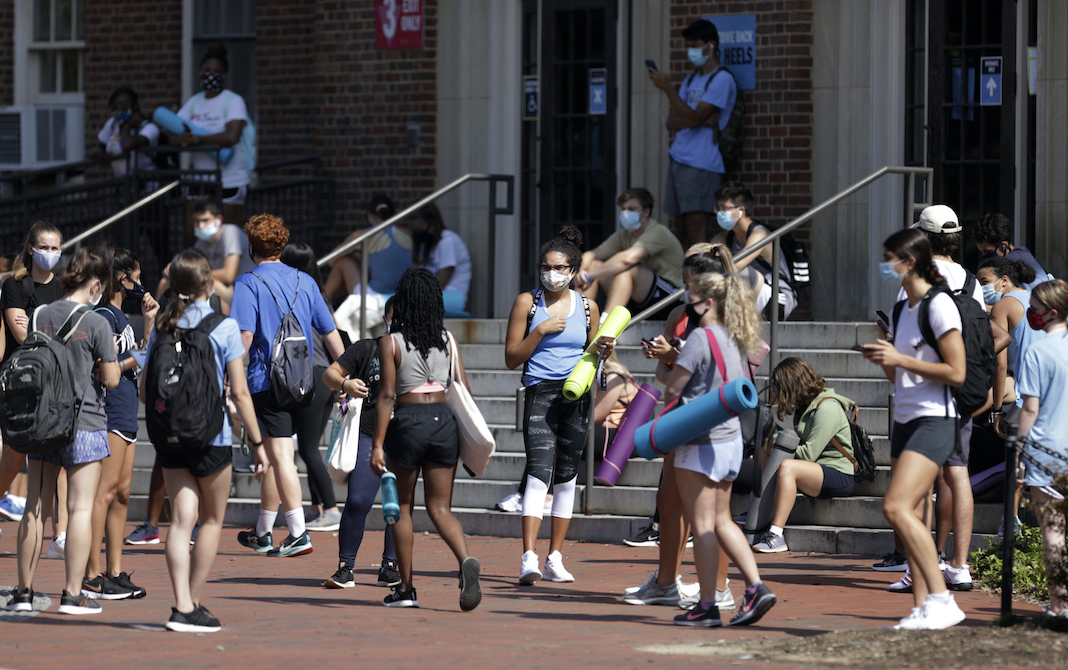 Students in masks outside gym at UNC Chapel Hill, August 2020