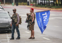 Armed anti-mask protesters in Indiana in July 2020