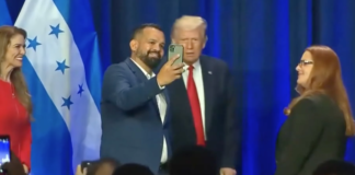Donald Trump taking selfies with no mask