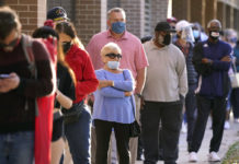 Voters lined up at a polling place in Richardson, Texas