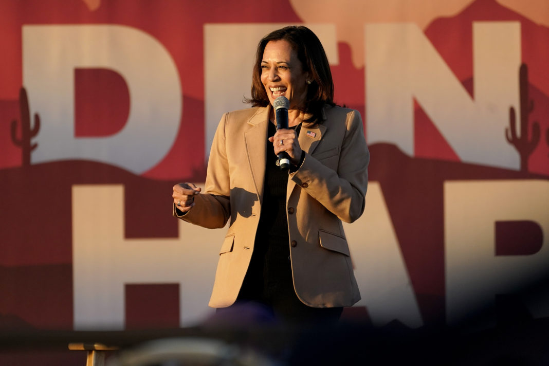 Democratic vice presidential candidate Sen. Kamala Harris (D-CA) speaking at a campaign event in Phoenix
