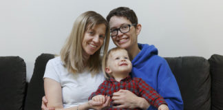 Same-sex couple and son in Rhode Island