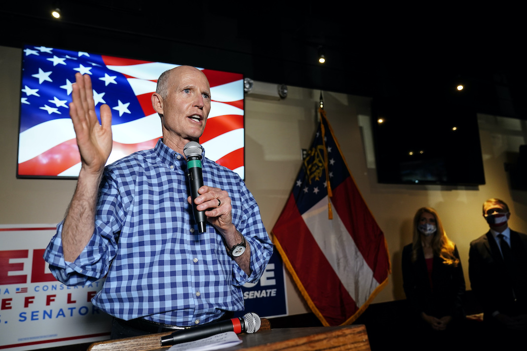 Rick Scott campaigns for David Perdue and Kelly Loeffler
