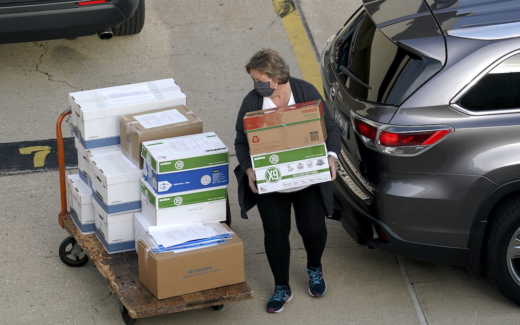 Wisconsin election official loads ballots for recount