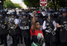 Protester and police in Washington, D.C.
