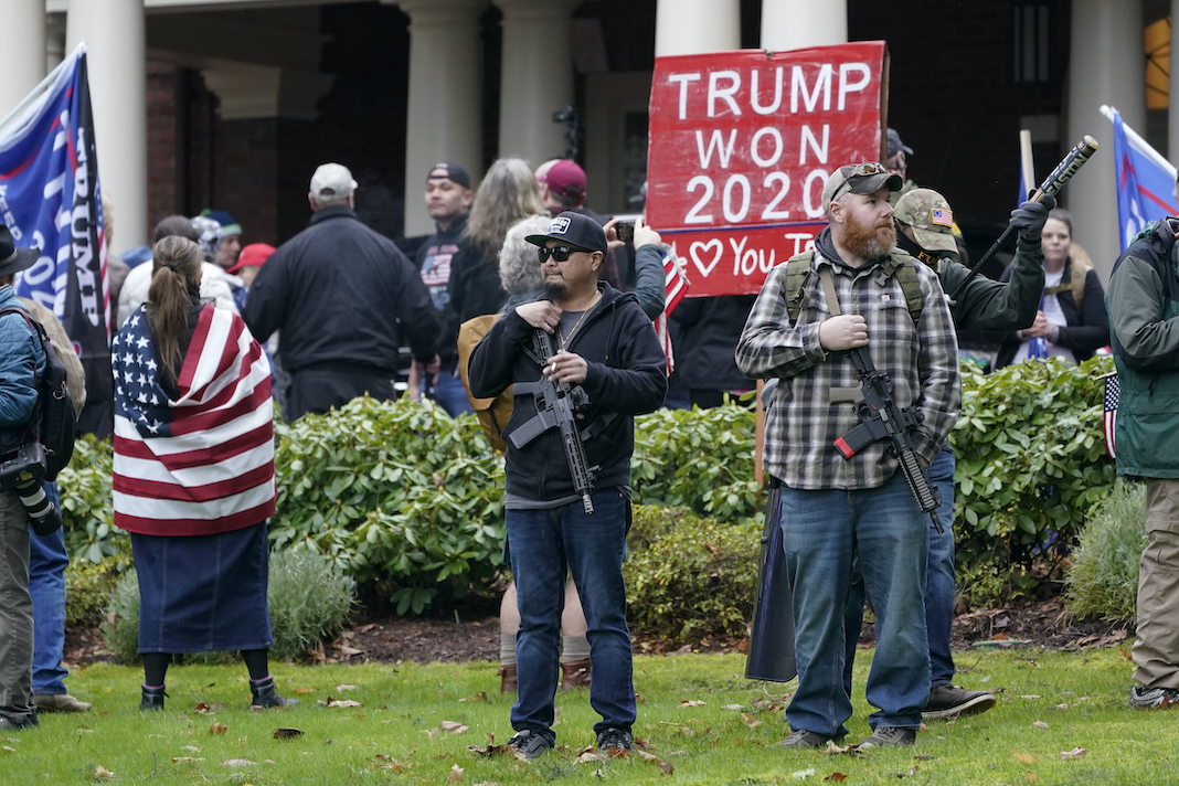 Armed Trump supporters at rally