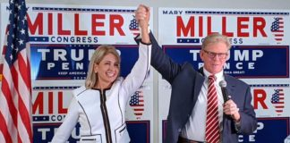 Illinois state Rep. Chris Miller with his wife, U.S. Rep. Mary Miller (R-IL)