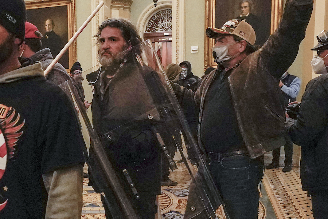 Rioters inside the US Capitol